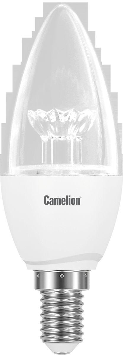 Лампа светодиодная Camelion, холодный свет, цоколь Е14, 6,5 W11929Светодиодная лампа, температура цвета 4500К (Холодный цвет), напряжение 220 Вольт