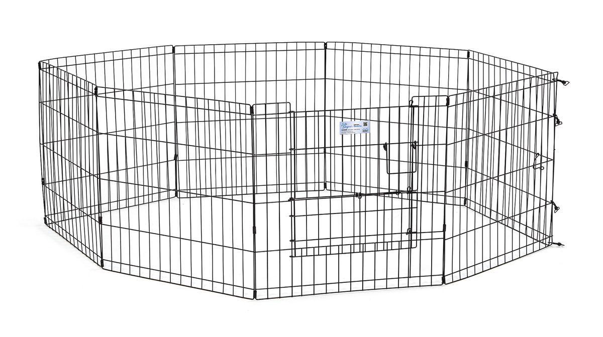 Вольер для животныx Midwest Life Stages, 8 панелей, цвет: черный, 61 x 61 см524SDRВольер для животных 8 панелей со сплит-дверью для использования в помещении и на улице. Сплит-дверь обеспечивает легкий доступ к вашим питомцам, предотвращая их выбегание из вольера. Запатентованная дверная система MAXLock повышает безопасность, предоставляя множество точек блокировки по периметру двери. Эргономичная ручка-замок позволяет легко и удобно управлять дверью одним движением, без сгибания коленей. Прочное черное покрытие вольера Electro-Coat обеспечивает долговечную защиту. Вольер легко складывается для удобного хранения и транспортировки, легко собирается, не требуется никаких инструментов или дополнительных деталей. В комплект включены угловые усилители, которые добавляют вес и поддерживают конфигурацию ограждения, они так же могут быть использованы для защиты напольного покрытия, и крепежи, которыми оснащена функциональная безопасная каркасная дверца. Ограниченная площадь1,5 квадратных метра. Возможные конфигурации вольера: квадрат, прямоугольник, восьмиугольник. Вес...