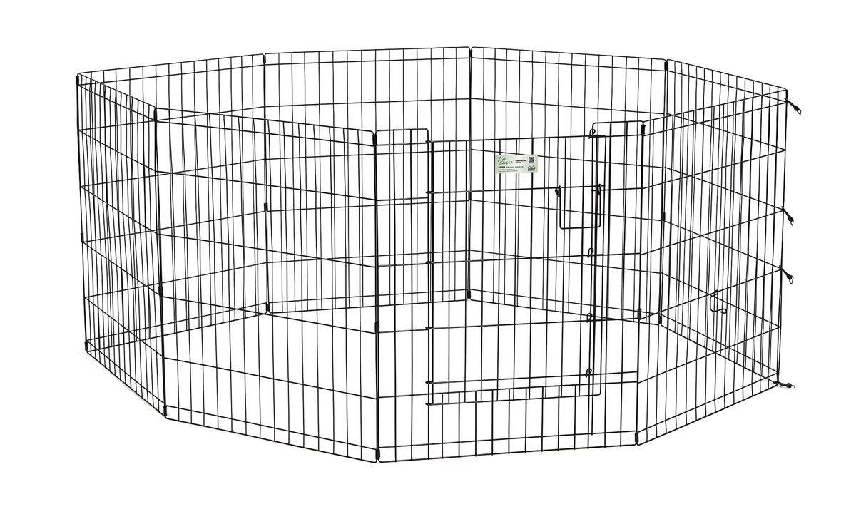 Вольер для животныx Midwest Life Stages, 8 панелей, цвет: черный, 61 x 76 см530DRВольер для животных 8 панелей с дверью для использования в помещении и на улице. Запатентованная дверная система MAXLock повышает безопасность, предоставляя множество точек блокировки по периметру двери. Эргономичная ручка-замок позволяет легко и удобно управлять дверью одним движением, без сгибания коленей. Прочное черное покритие вольера Electro-Coat обеспечивает долговечную защиту. Вольер легко складывается для удобного хранения и транспортировки, легко собирается, не требуется никаких инструментов или дополнительных деталей. В комплект включены угловые усилители, которые добавляют вес и поддерживают конфигурацию ограждения, они так же могут быть использованы для защиты напольного покрытия, и крепежи, которыми оснащена функциональная безопасная каркасная дверца. Ограниченная площадь1,5 квадратных метра. Возможные конфигурации вольера: квадрат, прямоугольник, восьмиугольник. Вес 9,3 кг. (10,3 кг с упаковкой). Размер одной панели 61х76h см.