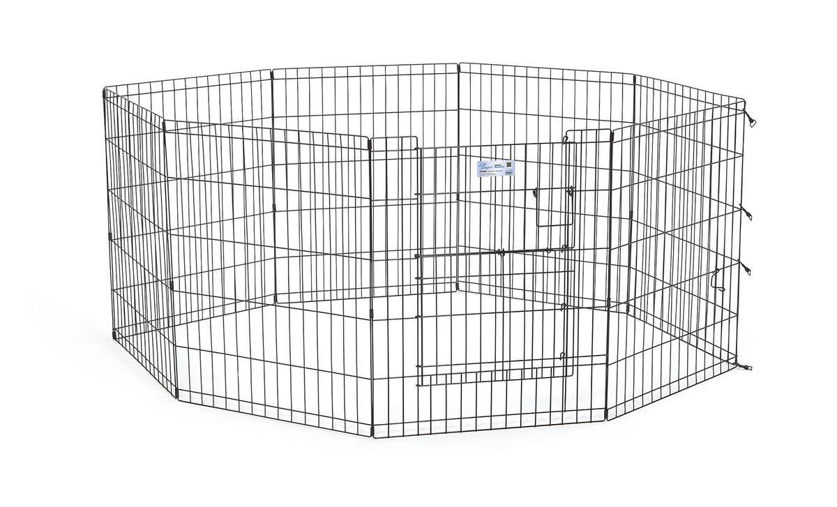 Вольер для животныx Midwest Life Stages, 8 панелей, цвет: черный, 61 x 76 см530SDRВольер для животных 8 панелей со сплит-дверью для использования в помещении и на улице. Сплит-дверь обеспечивает легкий доступ к вашим питомцам, предотвращая их выбегание из вольера. Запатентованная дверная система MAXLock повышает безопасность, предоставляя множество точек блокировки по периметру двери. Эргономичная ручка-замок позволяет легко и удобно управлять дверью одним движением, без сгибания коленей. Прочное черное покритие вольера Electro-Coat обеспечивает долговечную защиту. Вольер легко складывается для удобного хранения и транспортировки, легко собирается, не требуется никаких инструментов или дополнительных деталей. В комплект включены угловые усилители, которые добавляют вес и поддерживают конфигурацию ограждения, они так же могут быть использованы для защиты напольного покрытия, и крепежи, которыми оснащена функциональная безопасная каркасная дверца. Ограниченная площадь1,5 квадратных метра. Возможные конфигурации вольера: квадрат, прямоугольник, восьмиугольник. Вес...