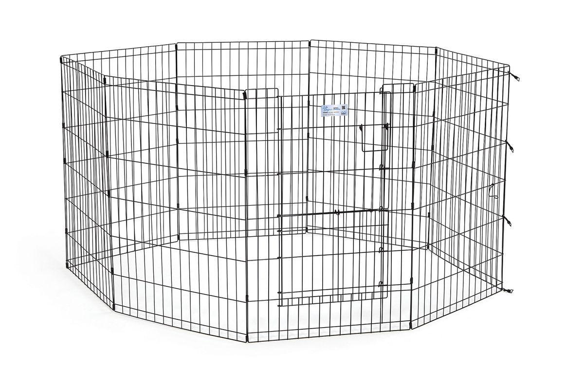 Вольер для животныx Midwest Life Stages, 8 панелей, цвет: черный, 61 x 91 см536SDRВольер для животных 8 панелей со сплит-дверью для использования в помещении и на улице. Сплит-дверь обеспечивает легкий доступ к вашим питомцам, предотвращая их выбегание из вольера. Запатентованная дверная система MAXLock повышает безопасность, предоставляя множество точек блокировки по периметру двери. Эргономичная ручка-замок позволяет легко и удобно управлять дверью одним движением, без сгибания коленей. Прочное черное покритие вольера Electro-Coat обеспечивает долговечную защиту. Вольер легко складывается для удобного хранения и транспортировки, легко собирается, не требуется никаких инструментов или дополнительных деталей. В комплект включены угловые усилители, которые добавляют вес и поддерживают конфигурацию ограждения, они так же могут быть использованы для защиты напольного покрытия, и крепежи, которыми оснащена функциональная безопасная каркасная дверца. Ограниченная площадь1,5 квадратных метра. Возможные конфигурации вольера: квадрат, прямоугольник, восьмиугольник. Вес...