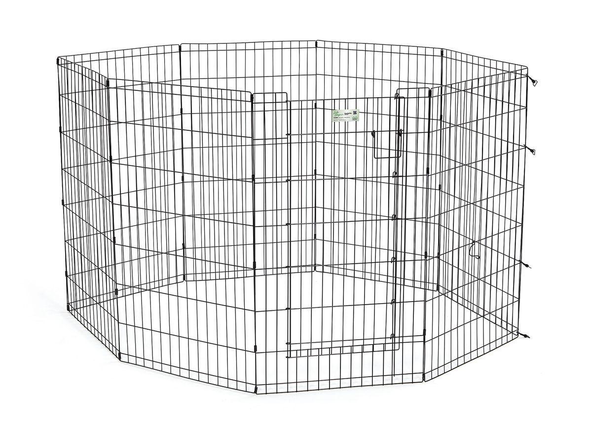 Вольер для животныx Midwest Life Stages, 8 панелей, цвет: черный, 61 x 107 см542DRВольер для животных 8 панелей с дверью для использования в помещении и на улице. Запатентованная дверная система MAXLock повышает безопасность, предоставляя множество точек блокировки по периметру двери. Эргономичная ручка-замок позволяет легко и удобно управлять дверью одним движением, без сгибания коленей. Прочное черное покрытие вольера Electro-Coat обеспечивает долговечную защиту. Вольер легко складывается для удобного хранения и транспортировки, легко собирается, не требуется никаких инструментов или дополнительных деталей. В комплект включены угловые усилители, которые добавляют вес и поддерживают конфигурацию ограждения, они так же могут быть использованы для защиты напольного покрытия, и крепежи, которыми оснащена функциональная безопасная каркасная дверца. Ограниченная площадь1,5 квадратных метра. Возможные конфигурации вольера: квадрат, прямоугольник, восьмиугольник. Вес 12,5 кг. (13,7 кг с упаковкой). Размер одной панели 61х107h см.