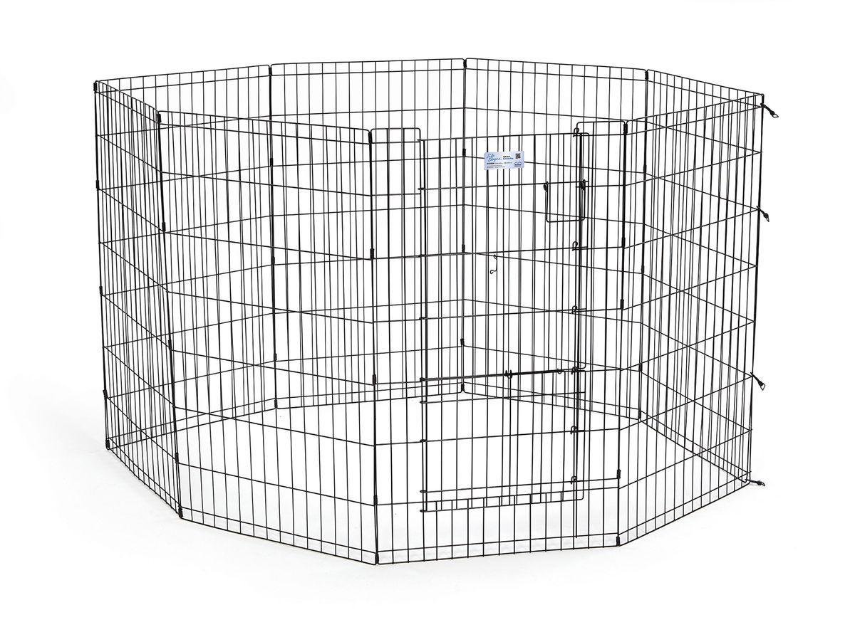 Вольер для животныx Midwest Life Stages, 8 панелей, цвет: черный, 61 x 107 см542SDRВольер для животных 8-ми панельный с дверью для использования в помещении и на улице. Запатентованная дверная система MAXLock повышает безопасность, предоставляя множество точек блокировки по периметру двери. Эргономичная ручка-замок позволяет легко и удобно управлять дверью одним движением, без сгибания коленей. Прочное покрытие вольера Electro-Coat обеспечивает долговечную защиту. Вольер легко складывается для удобного хранения и транспортировки, легко собирается, не требуется никаких инструментов или дополнительных деталей. В комплект включены угловые усилители, которые добавляют вес и поддерживают конфигурацию ограждения, они так же могут быть использованы для защиты напольного покрытия, и крепежи, которыми оснащена функциональная безопасная каркасная дверца. Ограниченная площадь:1,5 кв. метра. Возможные конфигурации вольера: квадрат, прямоугольник, восьмиугольник. Вес конструкции: 12,5 кг. Размер одной панели: 61х107 см.