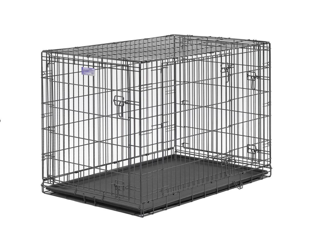 Клетка Midwest Select, 3 двери , цвет: серый, 107 x 71 x 76 см1342TDMidwest Select клетка серая 107х71х76h см. Midwest Select - трехдверная клетка для средних и крупных пород собак. В комплект входит: разделяющая панель, пластиковый поддон и специальные ручки для удобной переноски. - Клетка изготовлена из прочной проволоки, крепкая сетка обеспечивает абсолютную безопасность. - Закругленная угловая защита обеспечивает безопасность питомцам и людям, не повреждает поверхность. - Съемные дверцы и разделяющая панель обеспечивают создание универсальных отсеков. - Безопасный двойной замок - задвижка закрывает и снаружи и внутри. Размер 107х71х76h см. Вес19,0 кг. Цвет - серый, 3 двери.