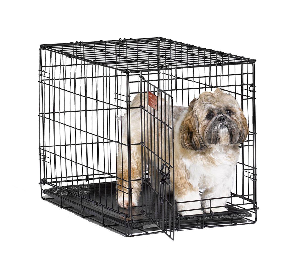 Клетка Midwest iCrate,1 дверь 61 x 46 x 48 см1524Midwest iCrate клетка 61х46х48h см черная 1 дверь. Клетка для собак малых и средних размеров с одной дверью. Клетка выполнена из качественного метала, обеспечивающего безопасность собаки и хозяина. Безопасный двойной замок задвижка закрывает и снаружи и внутри. В комплект включены: разделяющая панель, пластиковый поддон и специальные пластиковые ручки для удобной транспортировки клетки в сложенном виде. Закругленная угловая защита клетки обеспечивает безопасность питомцам и людям и не повреждает поверхность, на которой размещается. Разделяющая панель позволяет создавать универсальные отсеки. Поддон из композитного пластика легко моется. Клетка легко устанавливается и складывается без использования инструментов. В сложенном виде занимает мало места. Размер - 61х38 х48h см. Вес - 7 кг. Цвет клетки - черный.