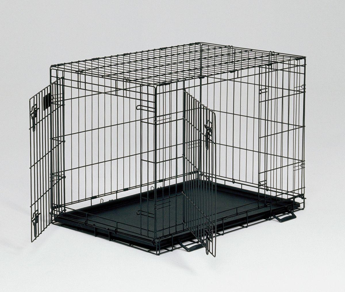 Клетка Midwest Life Stage 2 двери ,76 x 53 x 61 см1630DDКлетка для домашних животных Life Stage с одной или двумя дверьми. Устойчивая, крепкая клетка выполнена из качественного металла, обработана долговечным черным покрытием Electro-Coat, обеспечивает безопасность животного и хозяина. Двери расположены на смежных боковых сторонах. Удобный, крепкий двойной замок-задвижка позволяет закрыть клетку как снаружи, так и изнутри. В комплект включены: разделяющая панель, пластиковый поддон и специальные пластиковые ручки для удобной транспортировки клетки в сложенном виде. Закругленная угловая защита клетки обеспечивает безопасность питомцам и людям и не повреждает поверхность, на которой размещается. Разделяющая панель позволяет создавать универсальные отсеки. Поддон из композитного пластика легко моется. Клетка легко устанавливается и складывается без использования инструментов. В сложенном виде занимает мало места. Размер 76х53х61h см. Вес - 9,5 кг. Цвет - черный.