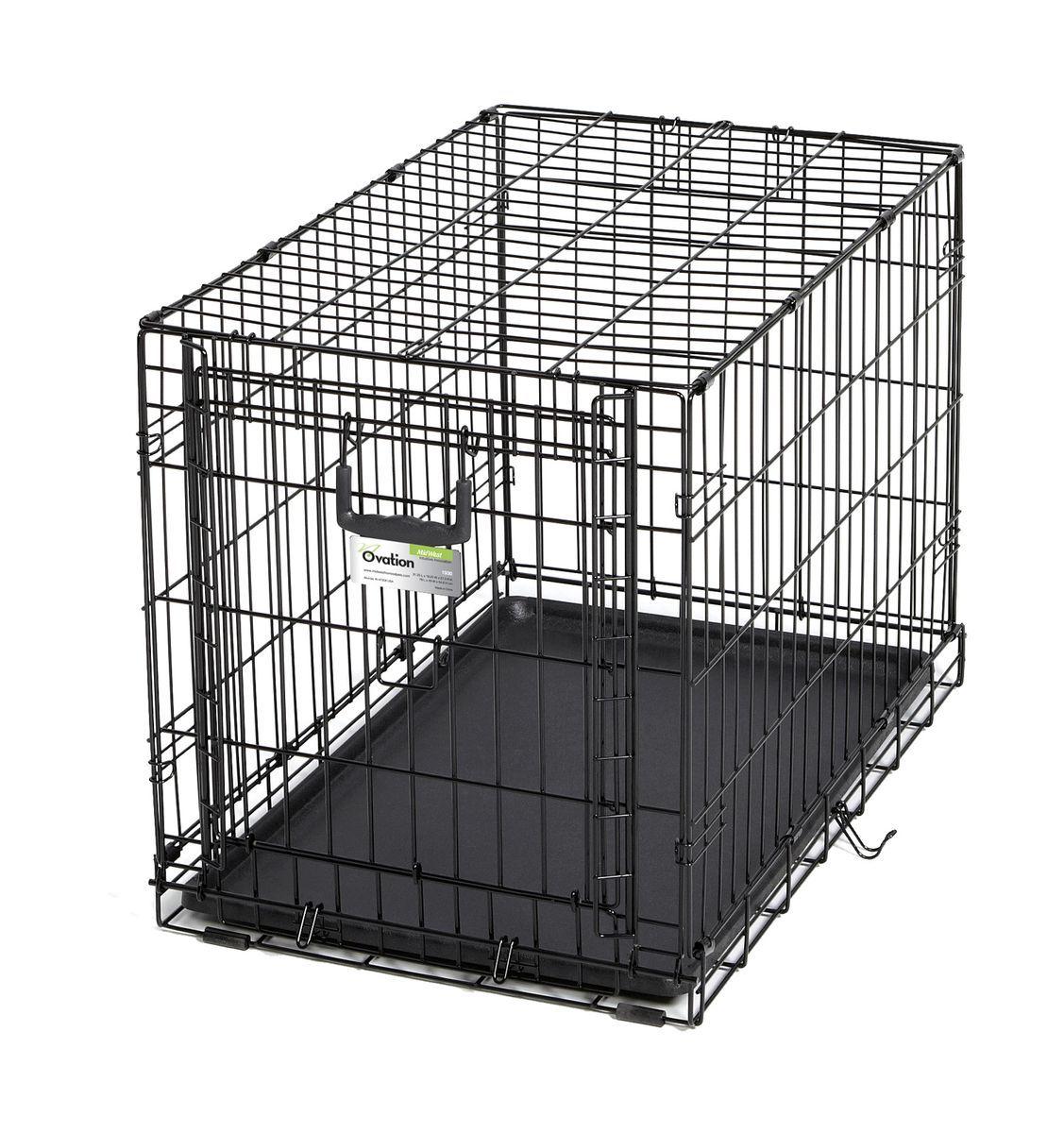 Клетка Midwest Ovation, 1 дверь рельсовая,79 x 49 x 54,6 см1930Клетка для домашних животных Ovation с одной дверью - особо прочная, компактная, с открывающейся вверх дверью. Дверь с запатентованной технологией рельсовой вертикальной системы удобно открывается вверх и размещается на крыше клетки. Это позволяет устранить необходимость в дополнительном пространстве, которое нужно для клеток с откидными дверьми, и максимально предохраняет от открытия животным. В комплект включены: разделяющая панель, пластиковый поддон и специальные пластиковые ручки для удобной транспортировки клетки в сложенном виде. Закругленная угловая защита клетки обеспечивает безопасность питомцам и людям и не повреждает поверхность, на которой размещается. Разделяющая панель позволяет создавать универсальные отсеки. Поддон из композитного пластика легко моется. Клетка легко устанавливается и складывается без использования инструментов. В сложенном виде занимает мало места.br> Размер клетки - 79х49х54,6h см. Вес - 8 кг. (9,1кг с коробкой). Цвет клетки - черный.
