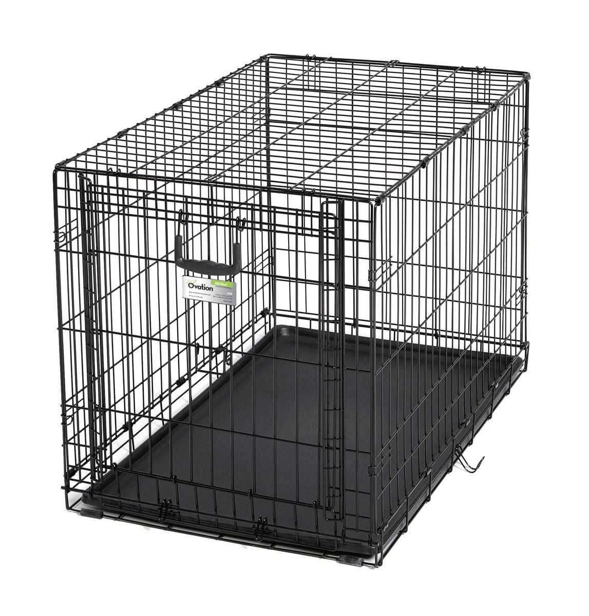 Клетка Midwest Ovation, 1 дверь рельсовая, 94,6 x 58,4 x 63,5 см1936Клетка для домашних животных Ovation с одной дверью - особо прочная, компактная, с открывающейся вверх дверью. Дверь с запатентованной технологией рельсовой вертикальной системы удобно открывается вверх и размещается на крыше клетки. Это позволяет устранить необходимость в дополнительном пространстве, которое нужно для клеток с откидными дверьми, и максимально предохраняет от открытия животным. В комплект включены: разделяющая панель, пластиковый поддон и специальные пластиковые ручки для удобной транспортировки клетки в сложенном виде. Закругленная угловая защита клетки обеспечивает безопасность питомцам и людям и не повреждает поверхность, на которой размещается. Разделяющая панель позволяет создавать универсальные отсеки. Поддон из композитного пластика легко моется. Клетка легко устанавливается и складывается без использования инструментов. В сложенном виде занимает мало места. Размер клетки - 94,6х58,4х63,5h см. Вес - 10,8 кг (12,1 кг с коробкой). Цвет клетки - черный.