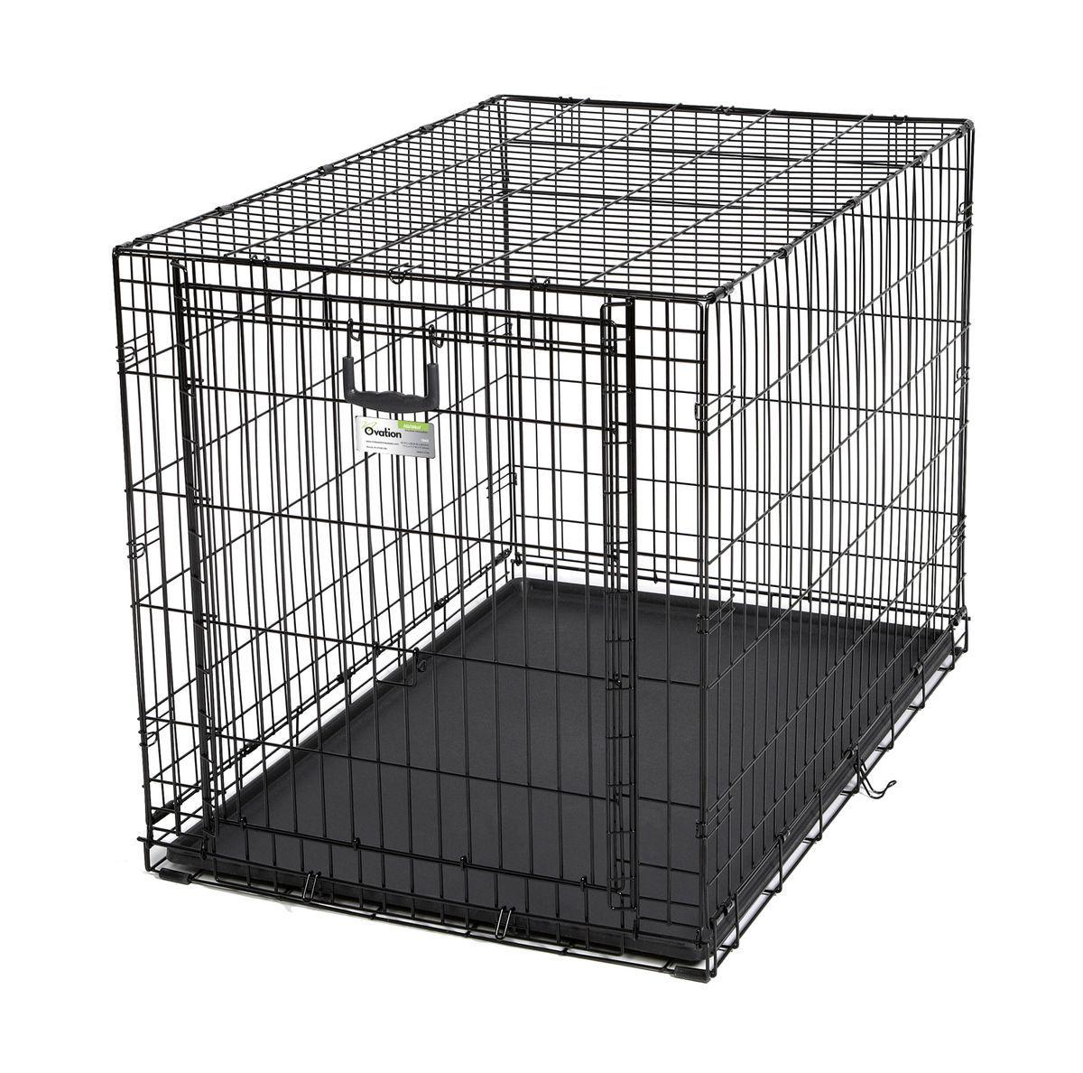 Клетка Midwest Ovation , 1 дверь рельсовая, 111 x 71,7 x 76,8 см1942Клетка для домашних животных Ovation с одной дверью - особо прочная, компактная, с открывающейся вверх дверью. Дверь с запатентованной технологией рельсовой вертикальной системы удобно открывается вверх и размещается на крыше клетки. Это позволяет устранить необходимость в дополнительном пространстве, которое нужно для клеток с откидными дверьми, и максимально предохраняет от открытия животным. В комплект включены: разделяющая панель, пластиковый поддон и специальные пластиковые ручки для удобной транспортировки клетки в сложенном виде. Закругленная угловая защита клетки обеспечивает безопасность питомцам и людям и не повреждает поверхность, на которой размещается. Разделяющая панель позволяет создавать универсальные отсеки. Поддон из композитного пластика легко моется. Клетка легко устанавливается и складывается без использования инструментов. В сложенном виде занимает мало места. Размер - 111х71,7х76,8h. Вес 15,8 кг (17,5 кг с коробкой). Цвет - черный.