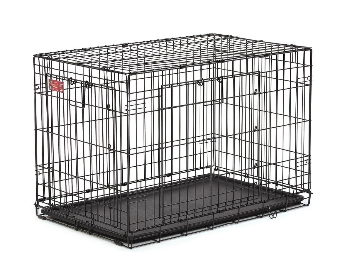 Клетка Midwest Life Stage A.C.E., 2 двери, 93,3 x 57,1 x 62,86 см436DDКлетка Midwest  Life Stag A.C.E. разработана специально для транспортировки средних и крупных собак. Закругленная угловая защита обеспечивает безопасность питомцам и людям. Клетка из нержавеющей стали оснащена: - двумя надежными дверками; - безопасным двойным замком (задвижка закрывает и снаружи и внутри); - прочным пластиковым поддоном, который не повреждает поверхность, на которой размещается; - разделяющей панелью, обеспечивающей создание универсальных отсеков; - качественными ручками для переноски питомца. Размер клетки (ДхШхВ): 93,3 x 57,1 x 62,86 см. Вес конструкции: 10,7 кг. Товар сертифицирован.