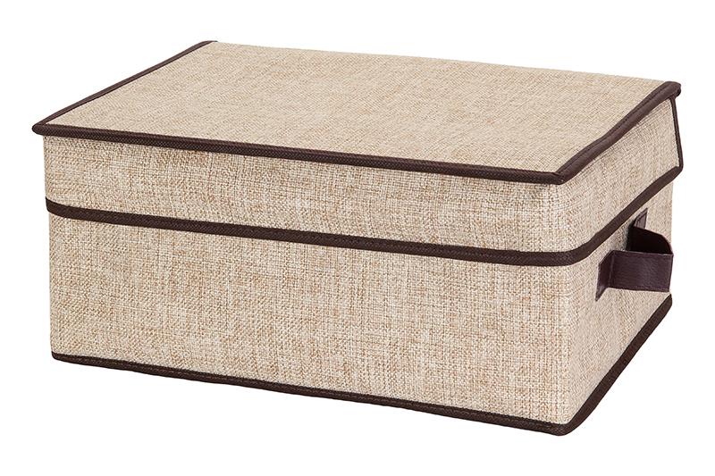 Кофр для хранения EL Casa Светло-бежевый, складной с 2 ручками, 35 х 25 х 16 см840104Кофр для хранения представляет собой закрывающуюся крышкой коробку жесткой конструкции, благодаря наличию внутри плотных листов картона. Специально предназначен для защиты Вашей одежды от воздействия негативных внешних факторов: влаги и сырости, моли, выгорания, грязи.