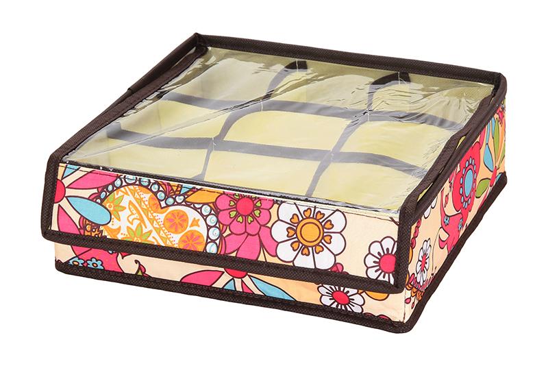 Кофр для хранения El Casa Яркие цветочные узоры, складной, 9 секций, 26 х 26 х 9 см840117Компактный складной кофр El Casa Яркие цветочные узоры изготовлен из высококачественного полиэстера, который обеспечивает естественную вентиляцию. Материал позволяет воздуху свободно проникать внутрь, но не пропускает пыль. Кофр отлично держит форму, благодаря вставкам из плотного картона. Изделие имеет 9 квадратных секций для хранения нижнего белья, колготок, носков и другой одежды. Прозрачная крышка позволяет видеть содержимое кофра, не открывая его. Такой кофр позволит вам хранить вещи компактно и удобно, а оригинальный дизайн сделает вашу гардеробную красивой и невероятно стильной.