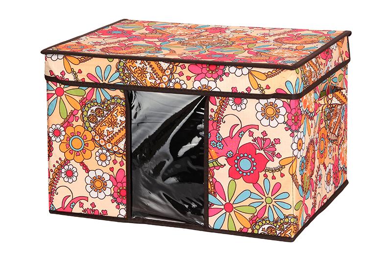 Кофр для хранения El Casa Яркие цветочные узоры, складной, 45 х 36 х 30 см840045Компактный складной кофр E Casa Яркие цветочные узоры изготовлен из высококачественного полиэстера, который обеспечивает естественную вентиляцию, позволяя воздуху проникать внутрь, но не пропуская пыль. Вставка и стенки из плотного картона хорошо держат форму. Кофр оснащен 2 удобными ручками, которые позволяют использовать его в качестве выдвижного ящика в гардеробе или шкафу. Изделие закрывается откидной крышкой. Прозрачная вставка из ПВХ позволяет легко просматривать содержимое. Оригинальный дизайн сделает вашу гардеробную красивой и невероятно стильной. Размер кофра (в собранном виде): 45 х 36 х 30 см.