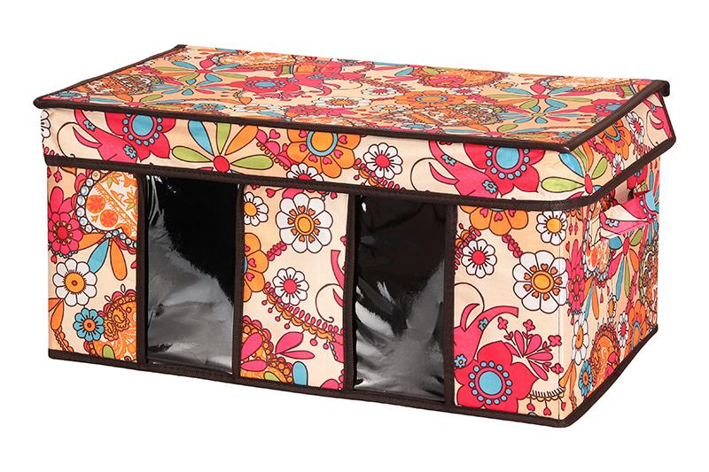Кофр для хранения El Casa Яркие цветочные узоры, складной, 50 х 29 х 24 см840063Компактный складной кофр El Casa Яркие цветочные узоры изготовлен из высококачественного полиэстера, который обеспечивает естественную вентиляцию, позволяя воздуху проникать внутрь, но не пропуская пыль. Предназначен для хранения одежды и домашнего текстиля. Съемная вставка и стенки из плотного картона хорошо держат форму. Кофр оснащен 2 удобными ручками, которые позволяют использовать его в качестве выдвижного ящика в гардеробе или шкафу. Изделие закрывается откидной крышкой. Прозрачные вставки из ПВХ позволяют легко просматривать содержимое. Оригинальный дизайн сделает вашу гардеробную красивой и невероятно стильной. Размер кофра (в собранном виде): 50 х 29 х 24 см.