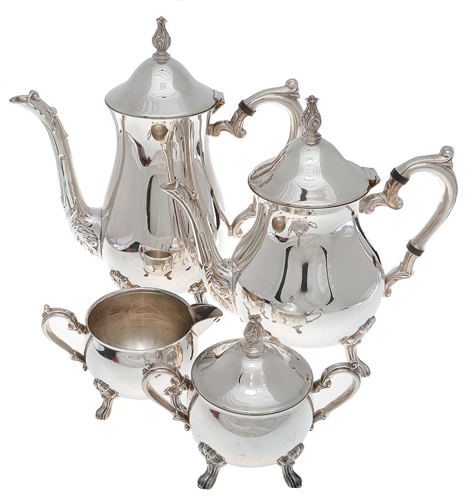 Чайно-кофейный набор из 4 предметов. Металл, глубокое серебрение. Великобритания, середина XX века