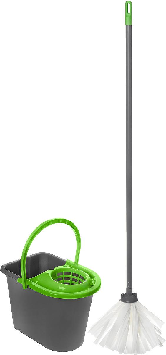 Набор для уборки York Mop Set, цвет: серый, салатовый, 3 предмета72010Набор для уборки York предназначен для уборки любых типов напольных покрытий, включая паркет и ламинат. Специальная структура микроактивного волокна лепестковой насадки убирает даже сильные, затвердевшие загрязнения, не оставляя разводов и эффективно впитывает влагу. Благодаря специальному ведру со встроенным отжимом, уборка станет быстрой и гигиеничной, так как вы сможете выжимать швабру в предназначенном для этого ведре, не пачкая руки. Такой набор сделает уборку легкой и обеспечит идеальную чистоту вашего пола без разводов и царапин. Размер ведра по верхнему краю: 36 х 25 см. Высота ведра: 26 см. Объем ведра: 14 л. Длина черенка: 108 см. Диаметр черенка: 2 см. Длина волокон лепестковой насадки: 21 см. Диаметр отверстия для черенка: 2 см.