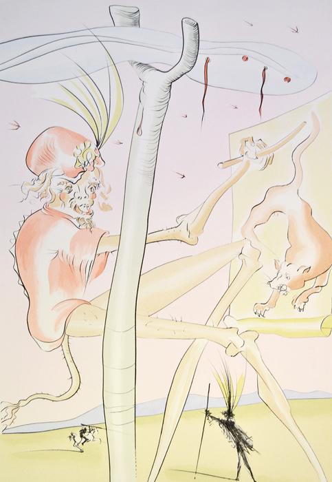 Сальвадор Дали Обезьяна и леопард. Гравюра, сухая игла. Серия Бестиарий Лафонтена, 1974 годПКППМПГравюра Обезьяна и леопард (Le Singe et le Leopard). Сухая игла. Автор - Сальвадор Дали (1904-1989). Лист №9 из серии Бестиарий Лафонтена (La Bestiaire de la Fontaine dalinise), 1974 год. Издание: Robert Mouret, des Maitres Contemporains, Париж, 1974 год. Размер листа 76 х 56 см, размер мотива 40 х 58,5 см. Сохранность очень хорошая. Бумага Arches. Работа отмечена в каталоге Dali: The Catalogue Raisonne of Etchings and Mixed-Media Prints, (1924-1980) (изд. Prestel, 1993) под № 661. В левом нижнем углу - номер экземпляра в тираже - 214/250. В правом нижнем углу - подпись автора от руки. Вашему вниманию предлагается великолепная гравюра из знаменитой серии Сальвадора Дали Бестиарий Лафонтена. Об интересе Дали к творчеству французского баснописца XVII века Жана де Лафонтена свидетельствует отрывок из книги Дневник одного гения: Я представляю собою полную противоположность герою басни Лафонтена Пастух и волк. В своей...