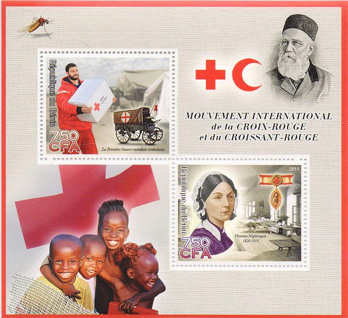 Почтовый блок Интернациональная миссия Красного Креста. Бенин, 2014 год739Почтовый блок Интернациональная миссия Красного Креста. Бенин, 2014 год. Размер блока: 11 х 12 см. Размер марок: 4 х 4.5 см. Сохранность хорошая.