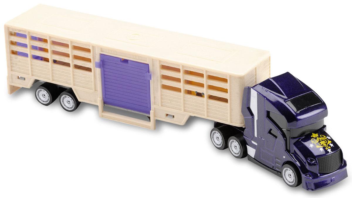 Majorette Грузовик с прицепом для перевозки животных205330_фиолетовый, бежевыйГрузовик с прицепом для перевозки животных Majorette привлечет внимание вашего ребенка и не позволит ему скучать. Игрушка представляет собой мощный грузовик с большим прицепом для перевозки сельскохозяйственных животных. Задний и боковой пандусы опускаются. В фургоне находятся две фигурки животных. Ваш маленький непоседа с удовольствием будет играть с такой машиной, придумывая различные истории. Порадуйте его таким замечательным подарком!