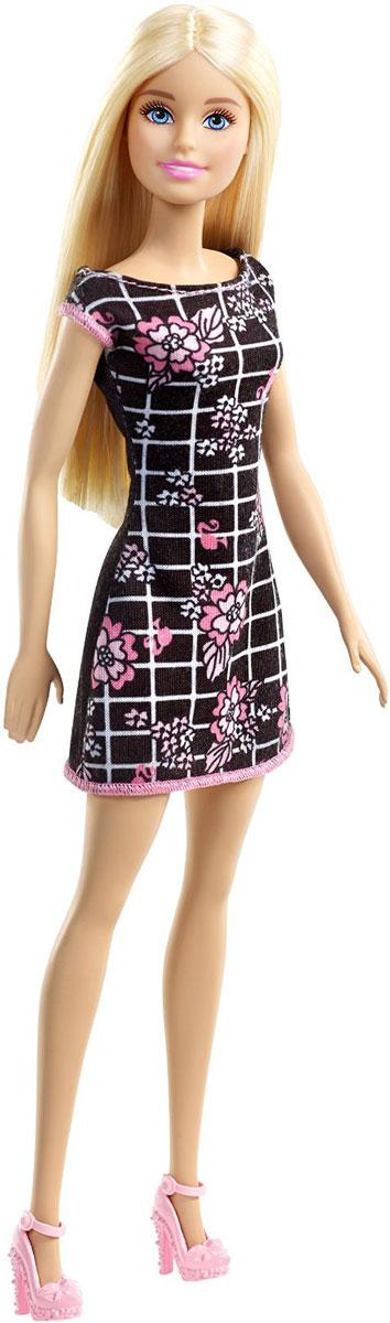 Barbie Кукла цвет платья черный розовыйT7439_DGX60Кукла Barbie - любимица девочек по всему миру, она непременно приведет в восторг вашу малышку. Очаровательная Барби одета в стильное черное платье с белой сеткой, украшенное розовыми цветами. На ногах у нее - модные босоножки. Вашей дочурке непременно понравится расчесывать и заплетать длинные белокурые волосы куклы, придумывая различные прически Руки, ноги и голова куклы подвижны, благодаря чему ей можно придавать разнообразные позы. Игры с куклой способствуют эмоциональному развитию ребенка, а также помогают формировать воображение и художественный вкус. Малышка проведет множество счастливых часов, играя с красавицей Барби.