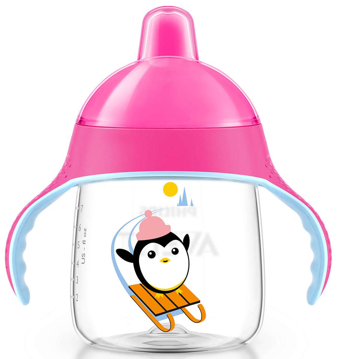 Philips Avent Волшебная чашка-непроливайка для детей от 12мес., розовый SCF753/00SCF753/00Чашка-поильник Philips Avent, выполненная из высококачественных материалов, обладает уникальным дизайном и функциональностью. Расположенный под углом носик помогает малышу сделать первые глотки, не отклоняя голову назад слишком сильно. Во время питья малыш может держать шею в естественном положении. Клапан пропускает воду, только когда малыш пьет. Обучающие ручки приучают малыша держать чашку и пить без посторонней помощи. Они разработаны специально для маленьких ручек малыша и выполнены из материала, препятствующего проскальзыванию. Защитный гигиеничный колпачок всегда сохраняет носик в чистоте - как дома, так и на прогулке. Все детали можно мыть в посудомоечной машине. Не содержит бисфенол-А.