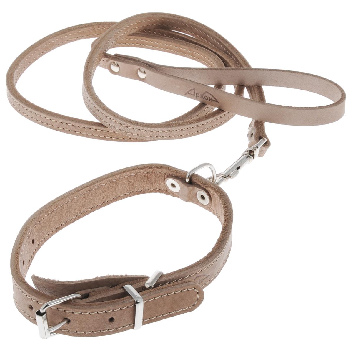 Комплект для собак Аркон Стандарт №6, цвет: светло-коричневый, 2 предметак6Комплект для животных Аркон Стандарт №6 состоит из ошейника и поводка. Изделия изготовлены из высококачественного металла и натуральной кожи. Надежная конструкция обеспечит вашему четвероногому другу комфортную и безопасную прогулку. Такой комплект подходит для мелких и средних пород собак. Длина поводка: 1,4 м. Ширина поводка: 1 см. Обхват шеи (для ошейника): 32 - 44 см. Ширина ремня ошейника: 2 см.