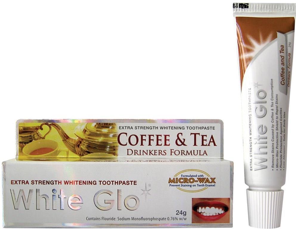 White Glo Зубная паста, отбеливающая для любителей кофе и чая, 24 г86827Специальная формула отбеливания борется с потемнением зубной эмали, возникающим в результате потребления кофе или чая. Защищает зубную эмаль от возникновения новых пятен, благодаря специальным микровосковым частицам. Содержит богатое витаминами А, С и Е масло семян шиповника, которое повышает защитные свойства слизистой оболочки полости рта.