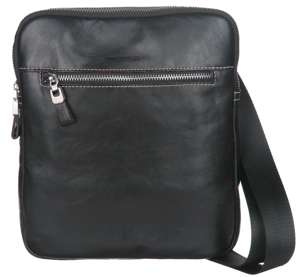 Сумка мужская Bruttus, цвет: черный. 931931Стильная мужская сумка Bruttus изготовлена из натуральной кожи. Модель имеет одно основное отделение, которое закрывается на застежку-молнию. Внутри имеется два открытых кармашка для телефона и мелочей и прорезной карман на застежке- молнии. Снаружи на передней стенке располагается прорезной карман на застежке-молнии. На задней стенке - пришивной карман на магнитной кнопке. Изделие оснащено текстильным плечевым ремнем, который регулируется по длине. Сумка упакована в фирменный чехол. Сумка Bruttus поможет вам подчеркнуть чувство стиля и завершить выбранный образ.