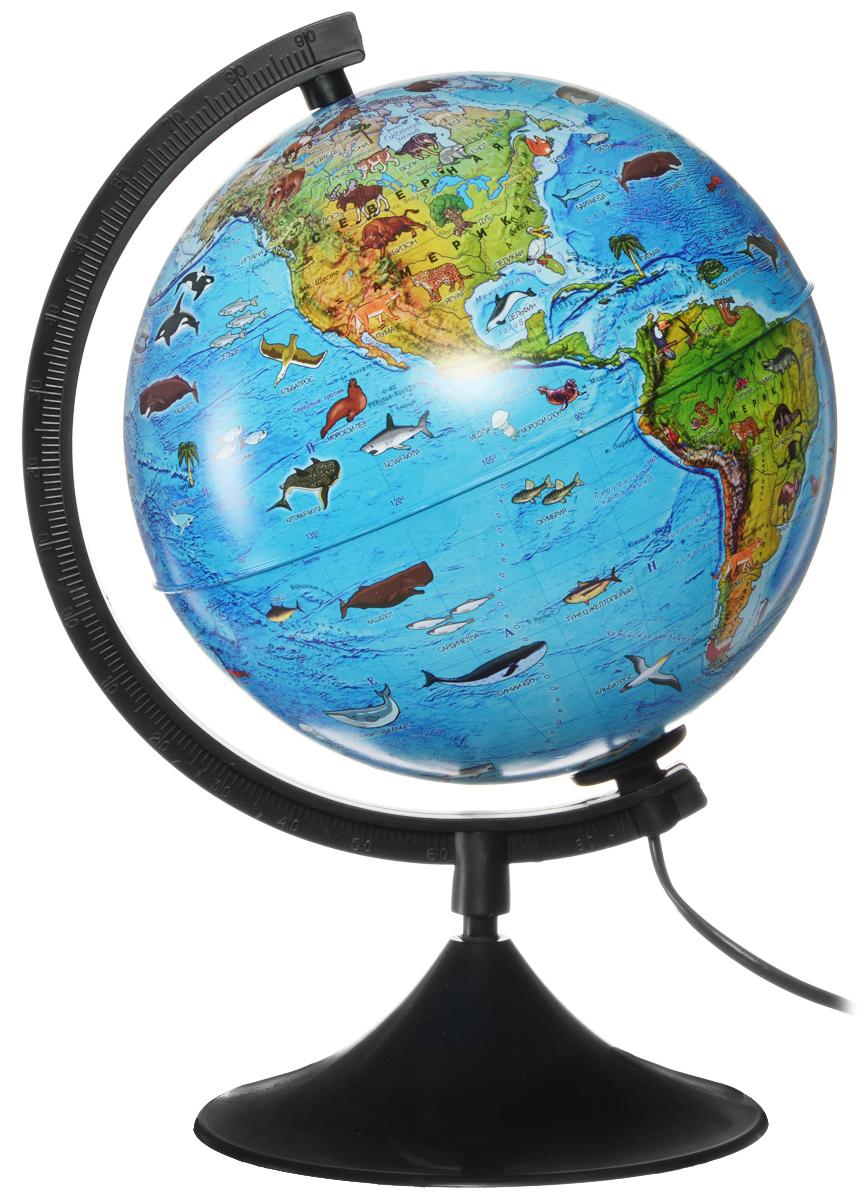 Globen Глобус Земли зоогеографический детский с подсветкой диаметр 21 см цвет подставки черныйК012100206Зоогеографический глобус Земли Globen выполнен в высоком качестве, с четким и ярким изображением. Он дает представление о животных, обитающих в разных уголках планеты. На нем отображены названия материков, океанов и морей, крупных географических объектов, животные и некоторые виды растений, характерные для определенной местности. Глобус легко вращается вокруг своей оси, снабжен пластиковым меридианом с градусными отметками. Подставка изготовлена из пластика. Глобус имеет функцию подсветки от электрической сети. Надписи на глобусе сделаны на русском языке. В комплект входит: глобус, подставка.