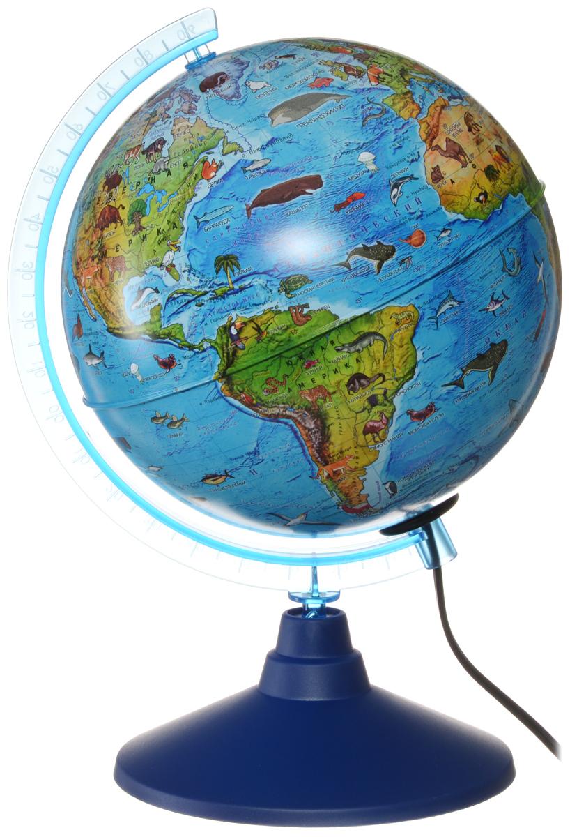 Globen Глобус Земли зоогеографический детский с подсветкой диаметр 21 см цвет подставки синийКе012100208Зоогеографический глобус Земли Globen выполнен в высоком качестве, с четким и ярким изображением. Он дает представление о животных, обитающих в разных уголках планеты. На нем отображены названия материков, океанов и морей, крупных географических объектов, животные и некоторые виды растений, характерные для определенной местности. Глобус легко вращается вокруг своей оси, снабжен пластиковым меридианом с градусными отметками. Подставка изготовлена из пластика. Глобус имеет функцию подсветки от электрической сети. Надписи на глобусе сделаны на русском языке. В комплект входит: глобус, подставка.