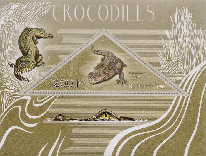 Почтовый блок Крокодилы. Конго, 2014 год739Почтовый блок Крокодилы. Конго, 2014 год. Размер блока: 9 х 11.8 см. Размер марок: 3.5 х 9 см. Сохранность хорошая.