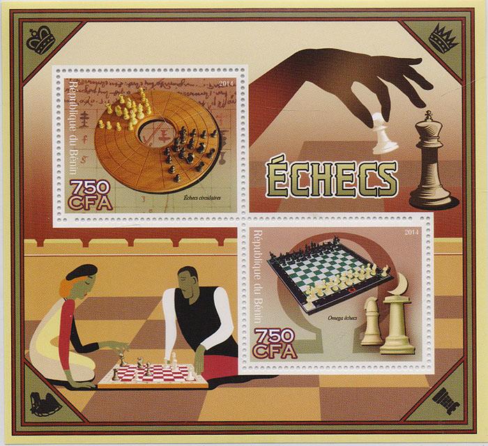 Почтовый блок Шахматы. Бенин, 2014 год739Почтовый блок Шахматы. Бенин, 2014 год. Размер блока: 11 х 12 см. Размер марок: 4 х 4.7 см. Сохранность хорошая.