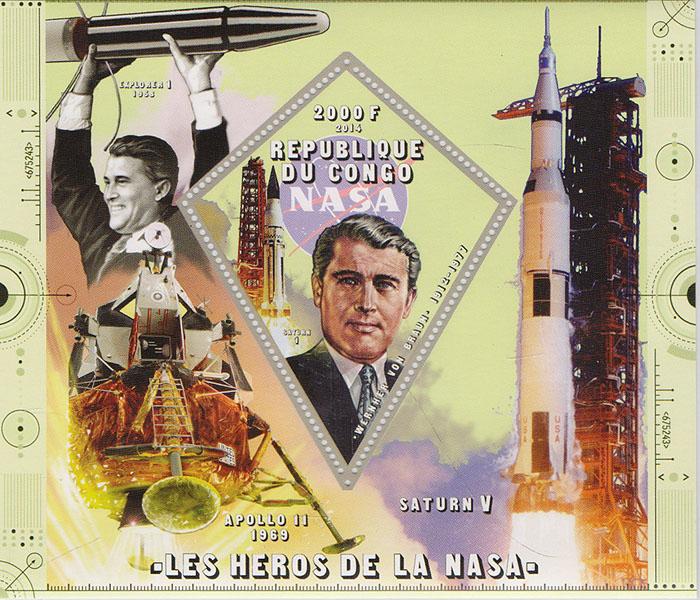 Почтовый блок Вернер фон Браун из серии Герои НАСА. Конго, 2014 год739Почтовый блок Вернер фон Браун из серии Герои НАСА. Конго, 2014 год. Размер блока: 11 х 13 см. Размер марок: 8 х 6 см. Сохранность хорошая.