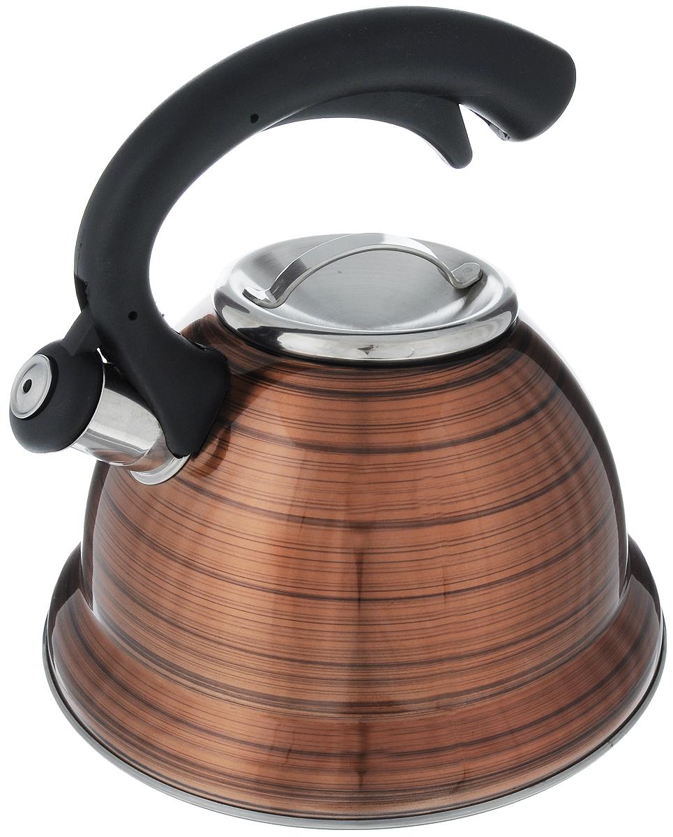 Чайник Bekker Premium, со свистком, цвет: бронзовый, черный, 3,2 л. BK-S412BK-S412_ желтыйЧайник Bekker Premium изготовлен из высококачественной нержавеющей стали 18/10 с цветным матовым покрытием. Капсулированное дно распределяет тепло по всей поверхности, что позволяет чайнику быстро закипать. Крышка на носик и эргономичная фиксированная ручка выполнены из бакелита черного цвета. Носик оснащен откидным свистком, который подскажет, когда закипела вода. Свисток открывается и закрывается нажатием кнопки на рукоятке. Подходит для всех типов плит, включая индукционные. Можно мыть в посудомоечной машине. Диаметр (по верхнему краю): 10 см. Диаметр основания: 22 см. Высота чайника (без учета ручки): 13,5 см. Высота чайника (с учетом ручки): 24 см.