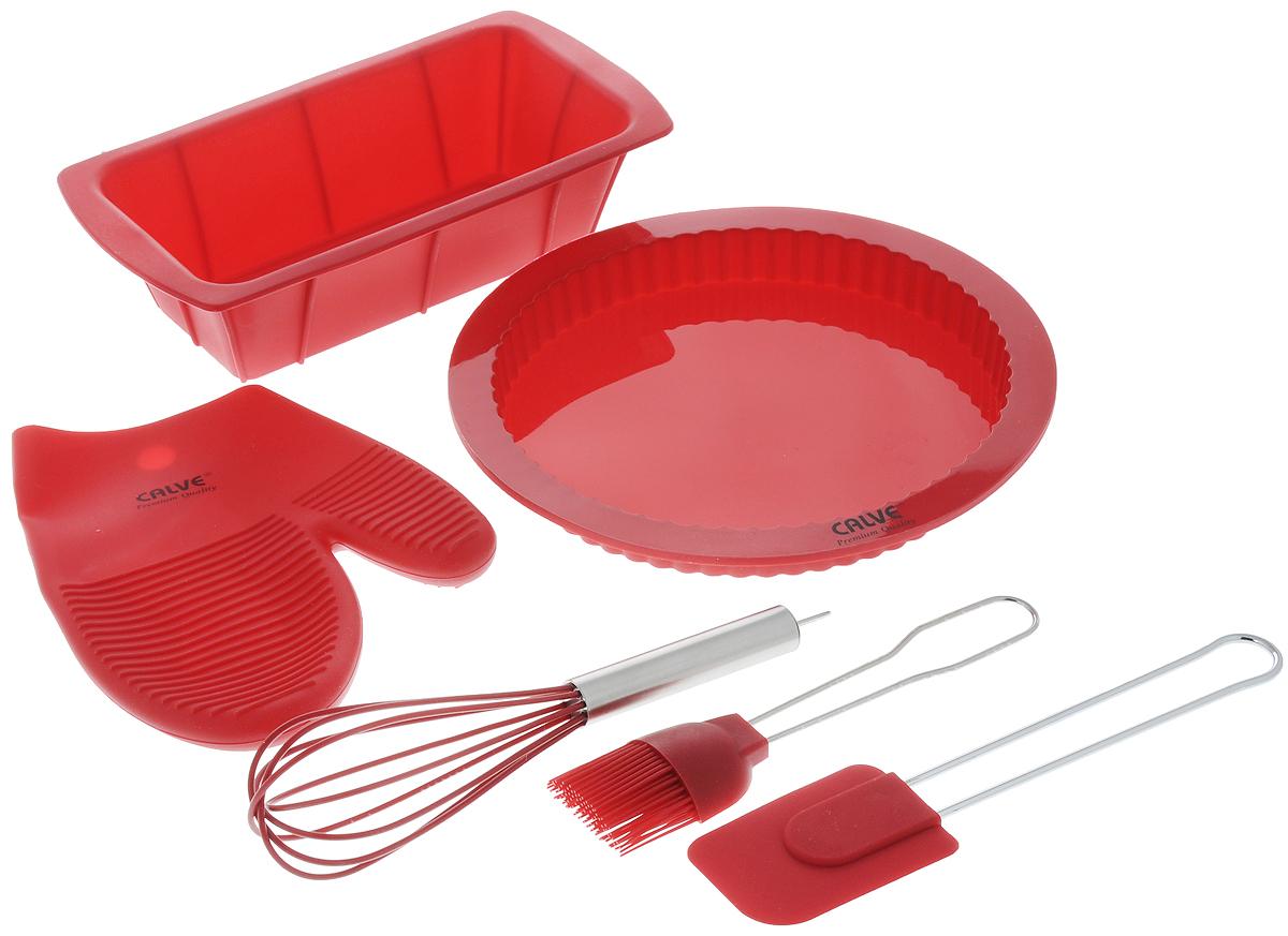 Набор для выпечки Calve, цвет: красный, 6 предметовCL-4608_ красныйНабор для выпечки Calve состоит из формы для пирога, формы для кекса, прихватки-варежки, венчика, лопатки и кисточки. Это самые востребованные приборы для приготовления выпечки. Все предметы набора выполнены из высококачественного и термостойкого силикона. Ручки лопатки, кисточки и венчика выполнены из нержавеющей стали. Изделия безопасны для посуды с антипригарным и керамическим покрытием. Формы для выпечки можно использовать в духовых шкафах и микроволновых печах, морозильных камерах и мыть в посудомоечной машине. Набор для выпечки Calve станет отличным дополнением к коллекции ваших кухонных аксессуаров. Размер формы для кекса: 26 х 14 х 6,5 см. Диаметр формы для пирога (по верхнему краю): 25,5 см. Размер рабочей поверхности лопатки: 8,5 х 6 х 1 см. Длина лопатки: 25 см. Длина ворса кисти: 4 см. Длина кисти: 21 см. Размер прихватки-варежки: 22 х 17 х 2 см. Размер венчика: 7 х 7 х 25 см.