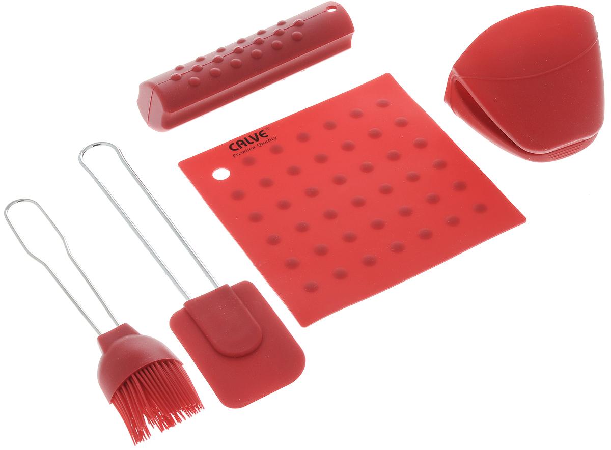 Набор для выпечки Calve, цвет: красный, 5 предметовCL-4606_ красныйНабор для выпечки Calve состоит из подставки под горячее, прихватки на ручку, прихватки для пальцев, лопатки и кисточки. Это самые востребованные приборы для приготовления выпечки. Все предметы набора выполнены из высококачественного и термостойкого силикона. Ручки лопатки и кисточки выполнены из нержавеющей стали. Изделия безопасны для посуды с антипригарным и керамическим покрытием. Набор для выпечки Calve станет отличным дополнением к коллекции ваших кухонных аксессуаров. Размер подставки под горячее: 17 х 17 см. Размер рабочей поверхности лопатки: 8,5 х 6 х 1 см. Общая длина лопатки: 25 см. Размер рабочей поверхности кисти: 8 х 5 х 2,3 см. Общая длина кисти: 21,5 см. Размер прихватки для пальцев: 10 х 9 х 8 см. Длина прихватки на ручку: 15,5 см.