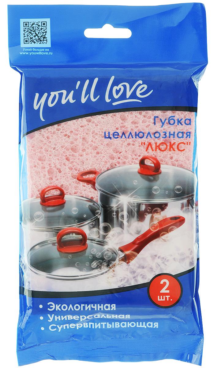 Губка универсальная Youll love, целлюлозная, цвет: розовый, голубой, 2 шт61149_ розовый, голубойУниверсальная губка для мытья посуды Youll love, изготовленная из целлюлозы, прекрасно впитывает влагу, не оставляет ворсинок и разводов, быстро сохнет. Предназначена для устранения загрязнений на кухонной и бытовой технике, а также кафеле, плитке и других поверхностях. Увеличенный размер губки позволяет быстрее и эффективнее очистить большие поверхности. Размер губки: 16 х 11 х 1 см. Комплектация: 2 шт.