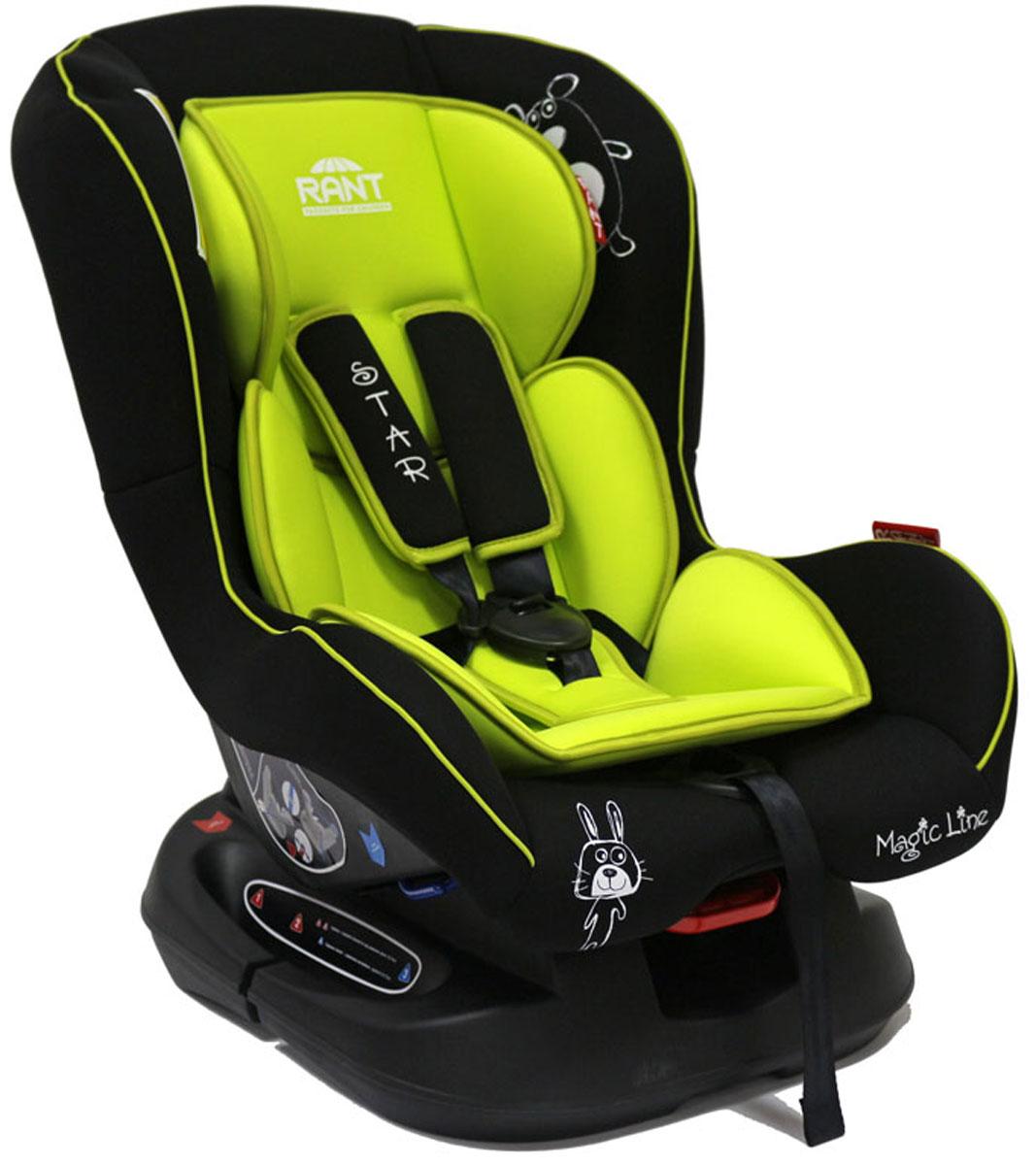Rant Автокресло Star цвет салатовый до 18 кг4630008876718Детское автокресло Rant Star предназначено для детей с рождения и до 18 кг (приблизительно до 4-х лет). Автокресло может устанавливаться как по ходу движения, так и против хода движения. Для новорожденного малыша (0+, 9 кг) автокресло фиксируется в автомобиле против хода движения (лицом назад) пока малыш научится хорошо сидеть. С 7-8 месяцев автокресло фиксируется лицом вперед и эксплуатируется приблизительно до 4-х лет (9+, 18 кг). Особенности: Удобное сидение анатомической формы с мягким матрасиком делает кресло удобным, комфортным и безопасным для малышей. Усиленная мягкая боковая защита обеспечит безопасность и защитит ребенка от ударов при боковых столкновениях. Спинка автокресла имеет регулировку наклона в 3-х положениях. Положение наклона спинки автокресла для комфортного сна в длительных поездках легко регулируются одной рукой при помощи специального рычажка, расположенного в передней части автокресла под чехлом. Автокресло оснащено 5-ти точечными ремнями безопасности с...