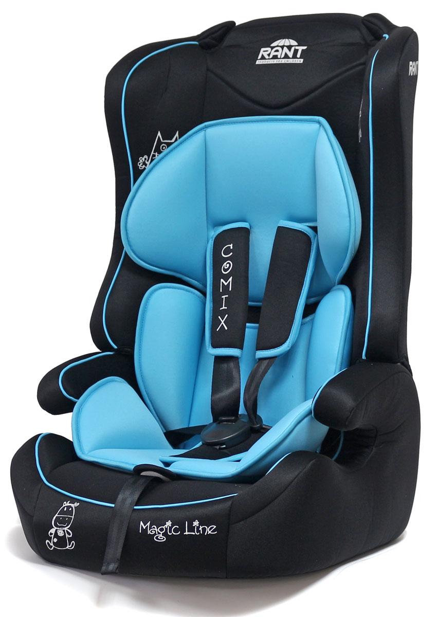 Rant Автокресло Comix цвет голубой от 9 до 36 кг4630008879276Универсальное автокресло Rant Comix предназначено для детей весом от 9 до 36 кг (ориентировочно с 9 месяцев до 12 лет). Кресло крепится штатными ремнями безопасности автомобиля и устанавливается по ходу движения автомобиля. Имеет съемный пятиточечный ремень безопасности с мягкими плечевыми накладками. Ремень безопасности корректируется в 2-х положениях. Также кресло оснащено регулятором высоты штатного ремня безопасности и центральной регулировкой натяжения ремней безопасности. Съемный чехол и мягкий вкладыш для малыша (съемный). Сертификат Европейского Стандарта Безопасности ЕCE R44/04.
