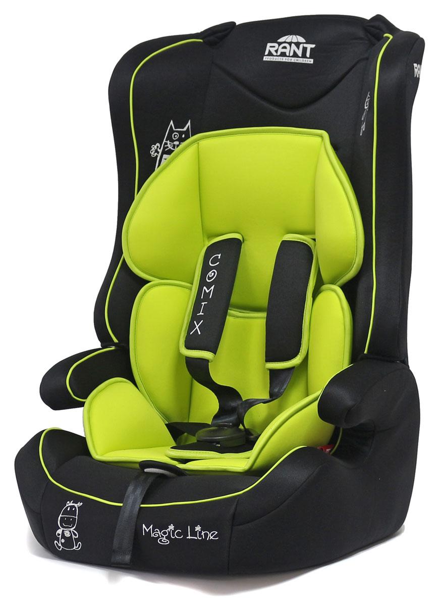 Rant Автокресло Comix цвет салатовый от 9 до 36 кг4630008879290Универсальное автокресло Rant Comix предназначено для детей весом от 9 до 36 кг (ориентировочно с 9 месяцев до 12 лет). Кресло крепится штатными ремнями безопасности автомобиля и устанавливается по ходу движения автомобиля. Имеет съемный пятиточечный ремень безопасности с мягкими плечевыми накладками. Ремень безопасности корректируется в 2-х положениях. Также кресло оснащено регулятором высоты штатного ремня безопасности и центральной регулировкой натяжения ремней безопасности. Съемный чехол и мягкий вкладыш для малыша (съемный). Сертификат Европейского Стандарта Безопасности ЕCE R44/04.