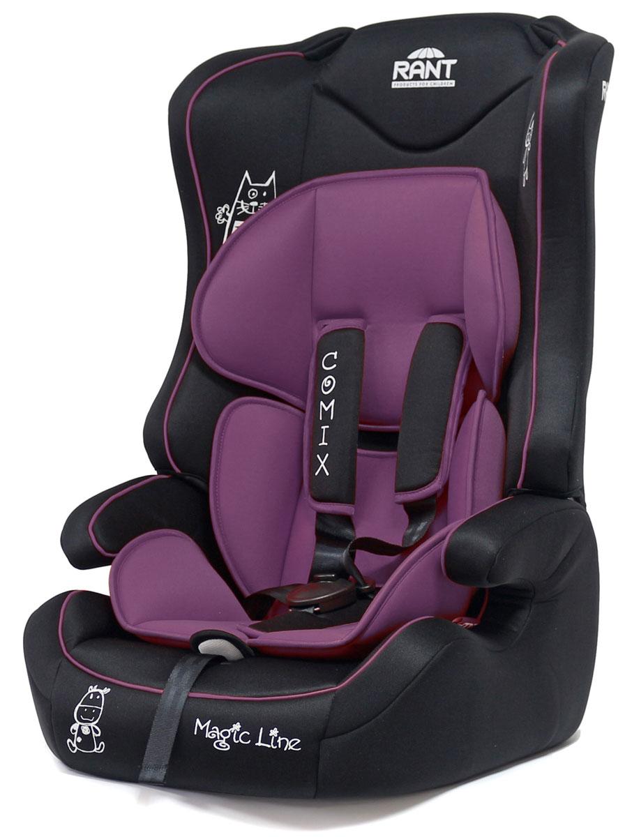 Rant Автокресло Comix цвет фиолетовый от 9 до 36 кг4630008879306Универсальное автокресло Rant Comix предназначено для детей весом от 9 до 36 кг (ориентировочно с 9 месяцев до 12 лет). Кресло крепится штатными ремнями безопасности автомобиля и устанавливается по ходу движения автомобиля. Имеет съемный пятиточечный ремень безопасности с мягкими плечевыми накладками. Ремень безопасности корректируется в 2-х положениях. Также кресло оснащено регулятором высоты штатного ремня безопасности и центральной регулировкой натяжения ремней безопасности. Съемный чехол и мягкий вкладыш для малыша (съемный). Сертификат Европейского Стандарта Безопасности ЕCE R44/04.