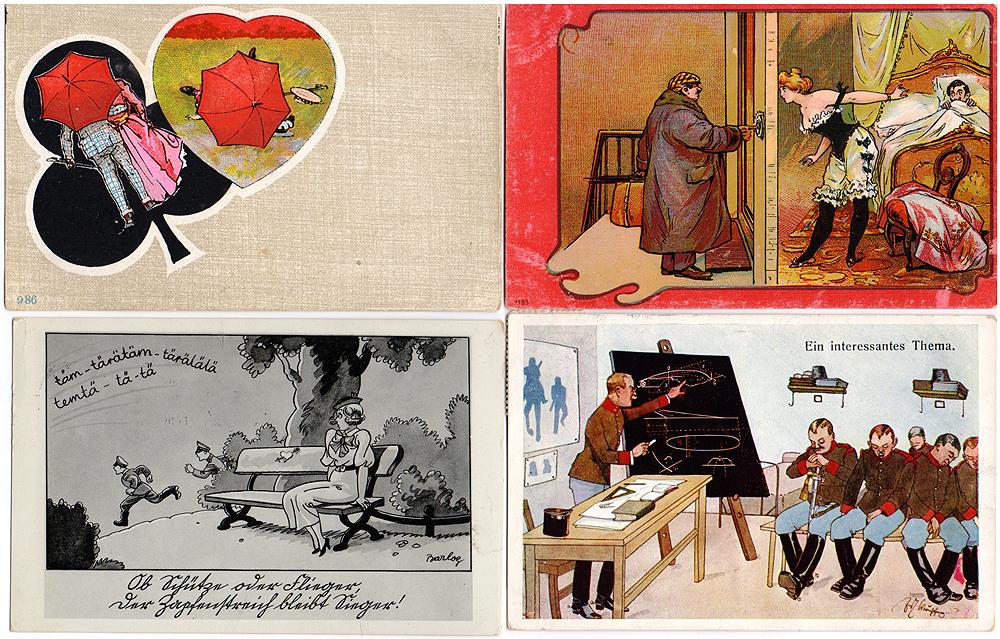 Юмор. Комплект из 4 открытокнг.га.кр_нов.дизайнКомплект из 4 открыток с изображением юмористических картинок. Западная Европа. Начало XX века. Размеры: 14 х 9 см. Сохранность хорошая. Две открытки с письмами и штемпелями.