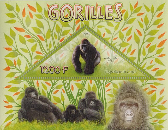 Почтовый блок Гориллы. Конго, 2014 год739Почтовый блок Гориллы. Конго, 2014 год. Размер блока: 9 х 11.8 см. Размер марок: 3.5 х 9 см. Сохранность хорошая.
