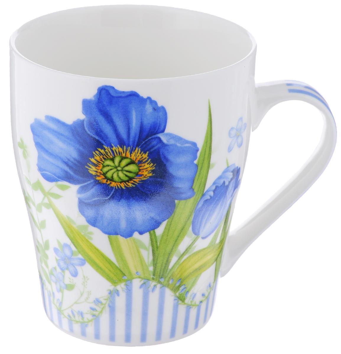 Кружка Loraine Цветок, цвет: белый, синий, 340 мл24466_ синийКружка Loraine Цветок изготовлена из высококачественного фарфора. Изделие оформлено изображением цветов. Такая кружка станет приятным сувениром и обязательно порадует вас и ваших близких. Объем: 340 мл. Диаметр кружки (по верхнему краю): 8 см. Высота кружки: 10 см.