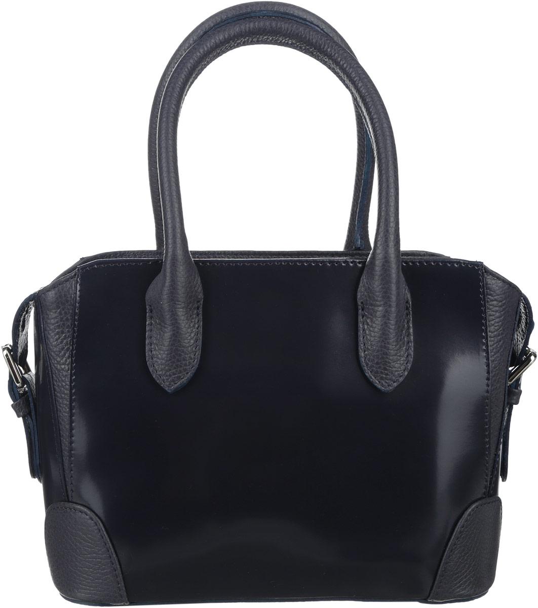 Сумка женская Afina, цвет: темно-синий. 158158Стильная сумка Afina выполнена из натуральной кожи с зернистой фактурой, дополнена вставками из лакированной кожи и металлической фурнитурой. Изделие содержит одно отделение, которое закрывается на молнию. Внутри расположены два накладных кармана, врезной карман, закрывающийся на молнию. Задняя сторона сумки дополнена врезным карманом на молнии. Изделие дополнено съемным плечевым ремнем регулируемой длины и двумя практичными ручками. Дно сумки оснащено металлическими ножками. Сумка Afina прекрасно дополнит образ и подчеркнет ваш неповторимый стиль.