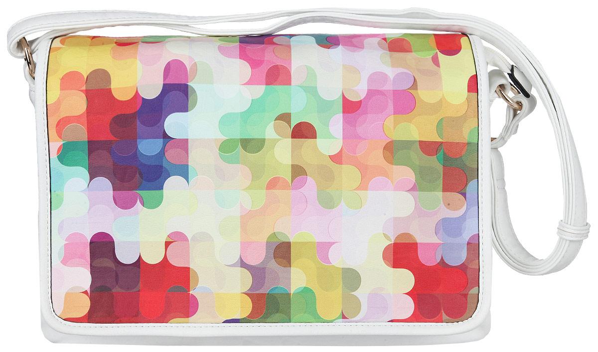 Сумка женская Orsa Oro, цвет: белый, мультицвет. D-780/40D-780/40Стильная женская сумка Orsa Oro выполнена из искусственной кожи, оформлена ярким принтом и металлической фурнитурой. Изделие содержит три отделения, которые закрываются клапаном на две магнитные кнопки и дополнительно на молнию. Внутри расположены: два накладных кармашка для мелочей и врезной карман на молнии. На задней стороне изделия расположен врезной карман на молнии. Сумка оснащена плечевым ремнем регулируемой длины. Оригинальный аксессуар позволит вам завершить образ и быть неотразимой.