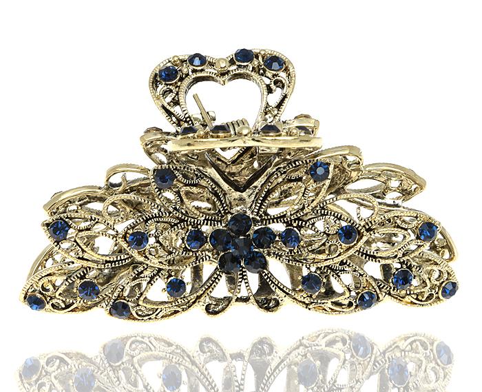 Зажим для волос в византийском стиле от D.Mari. Кристаллы сапфирового цвета, бижутерный сплав 'старое золото'. Гонконг