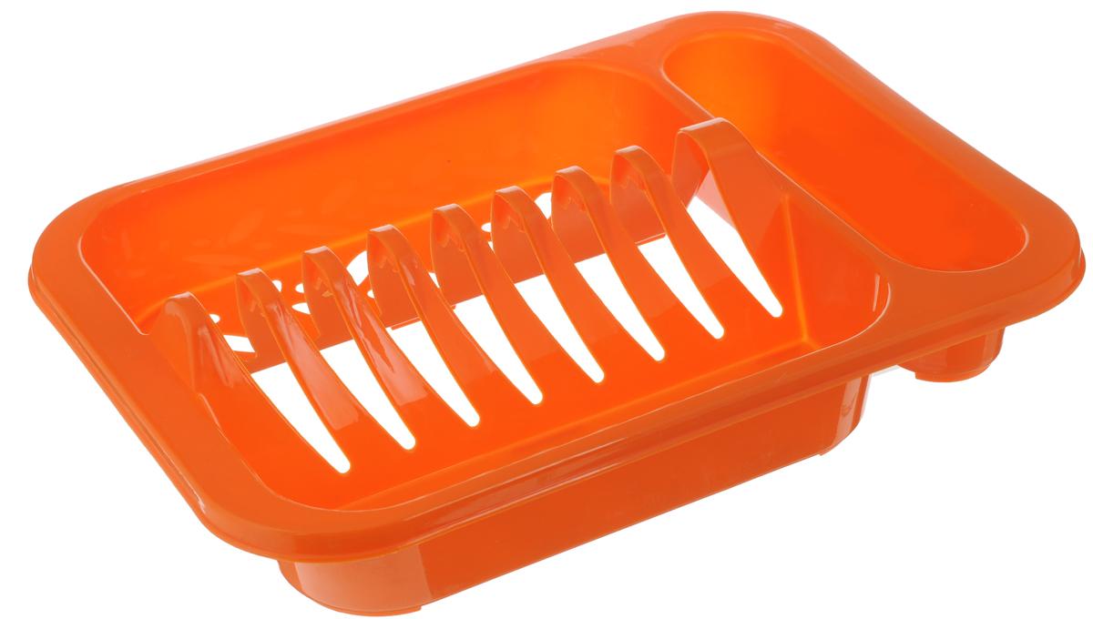 Подставка для посуды Oriental Way, цвет: оранжевый, 33 х 24 х 7,5 см8808_ оранжевыйПодставка для посуды Oriental Way выполнена из высококачественного прочного пластика. Изделие имеет 8 выемок для сушки тарелок, а также 3 емкости для столовых приборов. Подставка очень компактная и не займет много места на вашей кухне. Стильный яркий дизайн сделает ее красивым дополнением интерьера кухни.