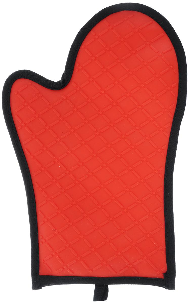 Рукавица-прихватка Bekker, цвет: красный, черный, 30,5 х 21 см