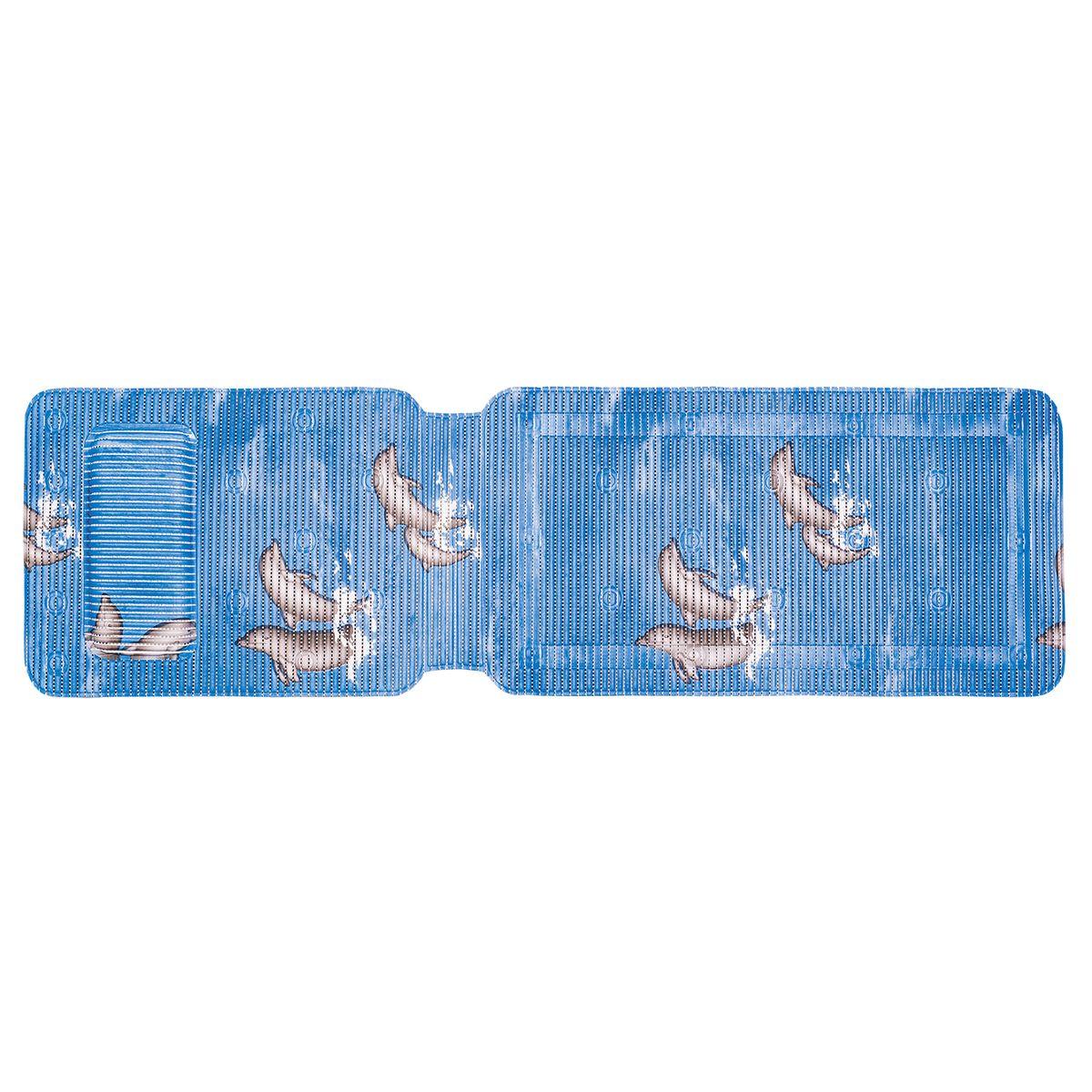 Коврик для ванной Tatkraft Dolphin с подушкой, противоскользящий, 36 см х 124 см18594Коврик противоскользящий Tatkraft Dolphin для ванной с подушкой. Рекомендуется для пожилых людей и детей, а также, для ценителей комфорта. Размер: 36,5*125см. - 30 присосок для безопасного использования. - Прочный, антибактериальный. Материал: вспененный поливинилхлорид, устойчивый к плесени. Коврик с подушкой фиксируется к ванне на присосках, имеет мягкую структуру, нескользкую поверхность. Это Ваши комфорт и безопасность при принятии ванны. Срок годности не ограничен.